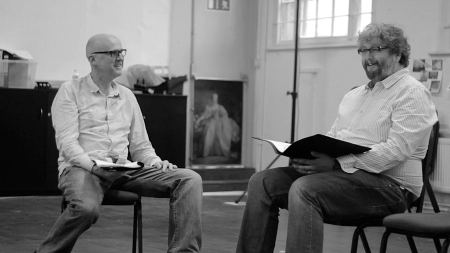 Tim Crouch and Andy Smith in rehearsals for what happens to the hope at the end of the evening. Photo by Mae-Li Evans
