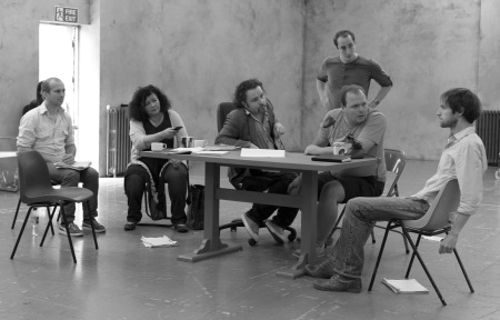 Christopher Patrick Nolan, Mandi Symonds, Stephen Fewell, Matthew Spencer, Gavin Spokes and Mark Arends in rehearsals for 1984. Photo: Manuel Harlan