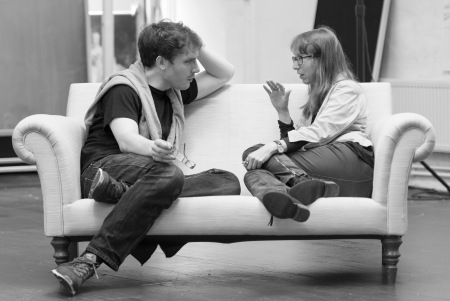 Director Robert Icke and playwright Anne Washburn in rehearsals for Mr Burns. Photo: Manuel Harlan