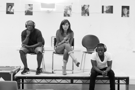 Lucian Msamati, Ronni Ancona and Bayo Gbadamosi in rehearsals for Little Revolution. Photo: Manuel Harlan