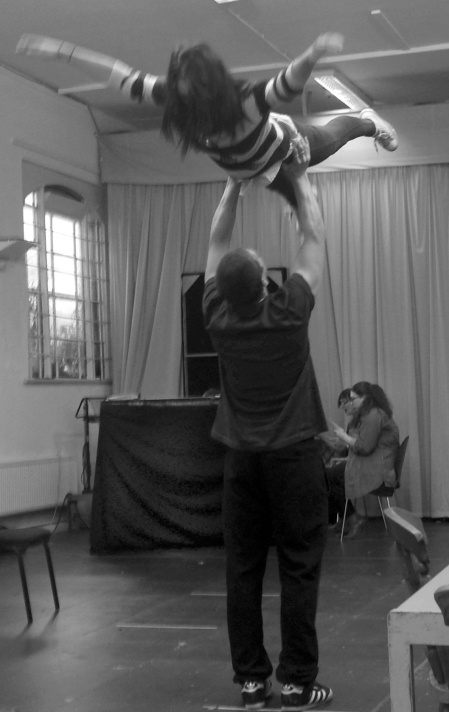 David Walmsley and Laura Elsworthy recreate the iconic lift from Dirty Dancing. Photo: Rebecca Hill