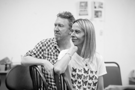 Richard Lumsden (Mr. Webb) and Kate Dickie (Mrs. Webb) in rehearsals for Our Town. Photo: Marc Brenner