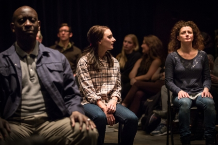 Sidney Cole, Joe Bunker, Laura Elsworthy and Anna Francolini in Our Town. Photo: Marc Brenner