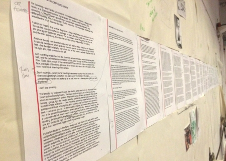 The full script of The Fever on the wall of the Almeida Theatre's rehearsal room. Photo: Simone Finney